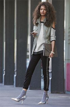 Metallic heels with socks.  Be a trend setter. It can be done!