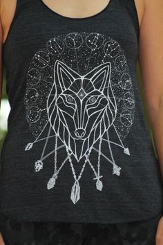 Dire Wolf Constellation Tank Top White screen by AkuaCreative