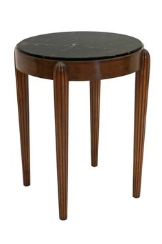 circular beech table with reeded legs and marble top b7411