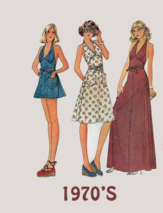 Vintage 70s  Maxi WRAP Dress with Halter neckline w/ Midriff Ties & Shorts McCalls 4486 1970s American Hustle Pattern Size 12 Bust 34 by sandritocat on Etsy