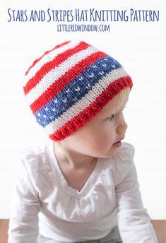 4th of July Baby Hat KNITTING PATTERN / American Flag Hat / | Etsy Baby Hat Knitting Pattern, Baby Hats Knitting, Knitting Stitches, Knitting Patterns Free, Knitted Hats, Free Pattern, Crochet Patterns, Sweater Patterns, Crochet Ideas