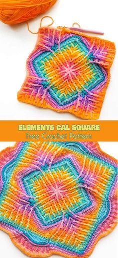 Elements Cal Square for Blankets, Pillows, Centrepieces [Free Crochet Pattern] Photos: crafty_cc This beautiful square is an absolute must this winter. Designed by Sandra Kuijer, Elements Cal started in December 2017 and has been a hit Crochet Squares Afghan, Crochet Motifs, Granny Square Crochet Pattern, Crochet Blocks, Crochet Granny, Free Crochet, Knit Crochet, Granny Squares, Granny Granny