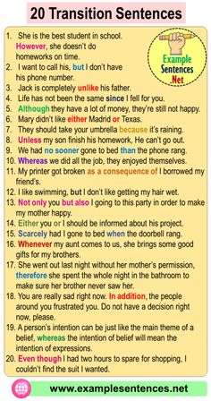 20 Transition Sentences Examples, Transition Words With Examples - Example Sentences English Grammar Notes, English Phrases, Learn English Words, Transition Sentences Examples, Transition Words And Phrases, English Writing Skills, Learning English, English Course, English Class