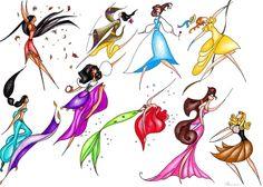 DIsney Fan Art Disney Princesses Pocahontas Mulan Belle Jane Jasmine Esmerelda Ariel Megara Aurora