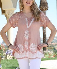 Loving this Brown Lace-Up Embroidered Tunic - Women on #zulily! #zulilyfinds
