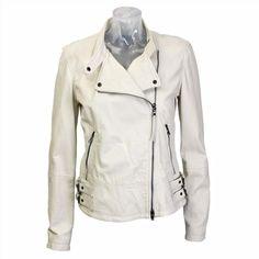 Lot 78 'Ziggy' Cream Leather Jacket ($325) found on Polyvore