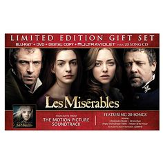 Walmart set for Les Miserables Blu-ray + DVD + Digital Copy + UltraViolet + 20 Song CD Les Miserables 2012, Dvd Blu Ray, Amanda Seyfried, Hugh Jackman, Ultra Violet, Soundtrack, Tv Shows, Celebs, Songs