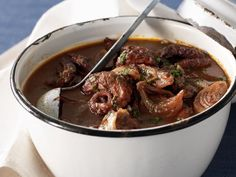 This tender braised octopus in red wine recipe works well cooked in a cast-iron pot over a low flame.