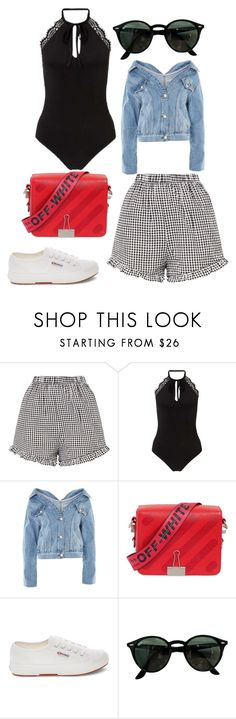 """""""summer"""" by eboony800 ❤ liked on Polyvore featuring Miss Selfridge, Topshop, Off-White, Superga and Ray-Ban"""