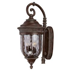 Pretty Outdoor Wall Mount Light with Watered Effect Glass.
