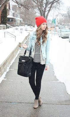 #beauty #clothes #outfit #winter #fall #layers #red #denim #black #neutrals