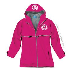 Monogrammed New England Rain Jacket - Hot Pink