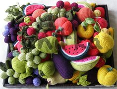 A set of knitted fruit and vegetables