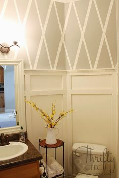 Best DIY Projects: Bathroom makeover with diamond pattern wall using painter's tape and board and batten