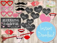 INSTANT DOWNLOAD - LOVE Photo booth Props Printable - Love Hearts, Moustaches, Lips, Glasses