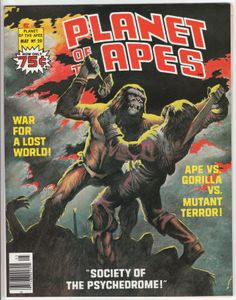 Planet Of The Apes Magazine #20, May 1976, NM-, Malcolm McNeill cover painting, new story with Tom Sutton artwork, Chapter 5 of the adaptation of the fourth film by Doug Moench and Alfredo Alcala, POTA article with photos: Special Effects of the POTA - Part 1. $28