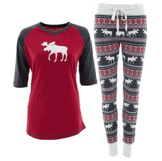 Lazy One Red Moose Fair Isle Pajamas for Women - Click to enlarge