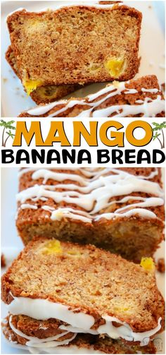 Mango Banana Bread made with ripe bananas and fresh mango, topped with a brown sugar streusel and drizzled with icing. A fantastic variation on a traditional banana bread recipe! #bread #banana #mango #baking #sweetbread #quickbread #recipe from BUTTER WITH A SIDE OF BREAD Best Bread Recipe, Quick Bread Recipes, Easy Bread, Meat Recipes, Cookie Recipes, Snack Recipes, Dessert Recipes, Kitchen Recipes, Drink Recipes