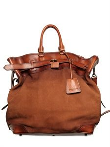 Burberry tarnished leather bag. Looks like something you'd take around the world and back!
