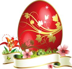 Large Red Easter Egg With Gold Flowers Ornaments Easter Egg Basket, Easter Eggs, Easter Art, Easter Crafts, Easter Pictures, Flower Ornaments, Egg Art, Gold Flowers, Mug Designs