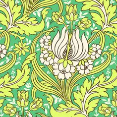 Amy Butler - Soul Blossoms Home Dec - Temple Tulips in Emerald  #fabric #trends #2013 [www.itma-showtime.com]