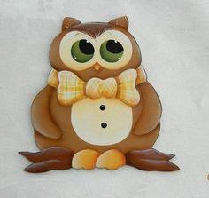 "HP ""Bow Tie Owl "" Handpainted Wood Fridge Magnet 