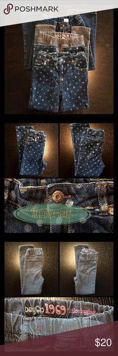 """Bundle of 3 Jeans 1) Arizona Jeans Polka Dot Skinny Jeans • Adjustable waist • Front & back pockets • Front zipper & snap closure with belt loops • 16"""" inseam • 2) Baby Gap 1969 Jeggings • Stretchy and soft fabric • Faux front pockets • Back pockets • Elastic waistline with belt loops • 18"""" inseam • 3) Sonoma Life + Style Flare Legs Jeans • Back & front pockets • Front zipper & snap closure • 17"""" inseam • All in good condition.  🌸 Price is firm unless bundled - 10% off 2 items or more. 🌸…"""