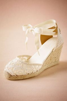 BHLDN Judith Lace Wedge in Bride Bridal Shoes at BHLDN 4a7b73d812ec