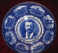 Teddy Roosevelt Plate Flow Blue Staffordshire