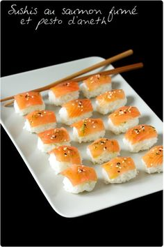 Sushi de saumon fumé au pesto daneth