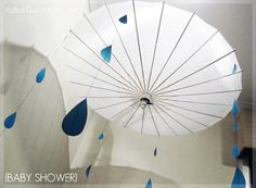 Shower Umbrella Decor - could hang other things from it as well such as streamers or paper decorations to go with party theme