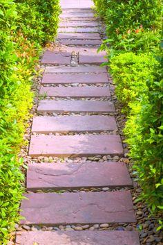 Install stepping-stone walk
