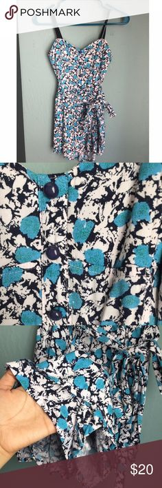 Light blue floral romper! Super cute romper only selling because it doesn't fit me anymore but it's still in great condition! Perfect for summer  #romper #blueandwhite #floralprint #supercute #sidebow #summerwear Must have Dresses Mini