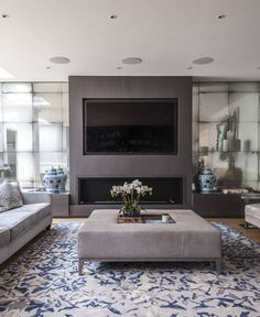 Antiqued Mirror Alcoves to Fireplace Wall: modern Living room by Rupert Bevan Ltd Fireplace Tv Wall, Linear Fireplace, Living Room With Fireplace, Fireplace Design, Fireplace Inserts, Living Tv, Living Room Modern, My Living Room, Living Room Designs