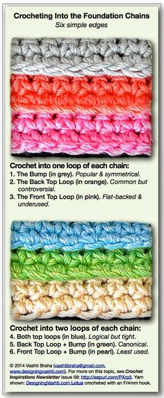 Crocheting into Chain Stitches: Six Options ❥ 4U // hf