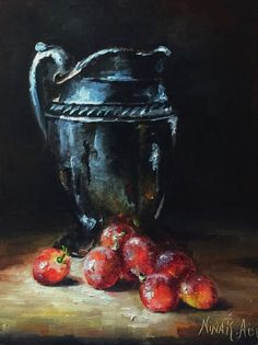 Silver Jug and Grapes Original Oil Painting by Nina R.Aide Fine Art Studio Gallery Fruit Small Painting Canvas 7x5 Fruit Painting by NinaRAideStudio on Etsy Sale