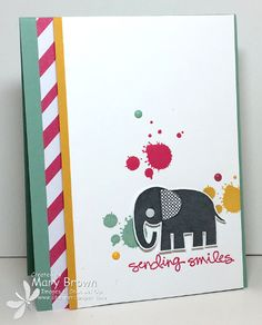 stampercamper.com - SUO145 - The SUO challenge theme is 'Cute Critters' and I thought this little elephant was SOOOO cute!  I kept it nice and simple....my favorite kind of card!  All the details on my blog.  Sets:  Zoo Babies, Gorgeous Grunge, Greatest Greetings