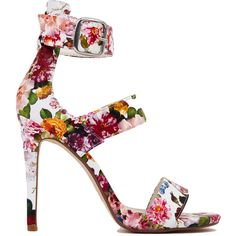 Triple-Band White Flower Print Ankle Strap Heels (46 TND) ❤ liked on Polyvore featuring shoes, sandals, heels, floral, white flower, heeled sandals, platform heel sandals, white sandals, high heel sandals and strap sandals