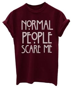 Inscription Normal People Scare Me T-Shirt unisexe - Rouge - petit: Amazon.fr: Vêtements et accessoires