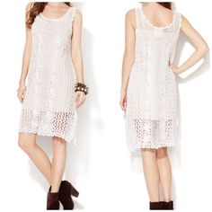 Free People Crochet Slip Dress - Brand New Knit dress. Crocheted knit throughout, side slits, tonal top stitching, panel seaming. 39 inches from shoulder to hem. 98% cotton and 2% spandex shell. Free People Dresses