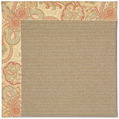 Capel Zoe Machine Tufted Auburn and Beige Area Rug Rug Size: Square 6'