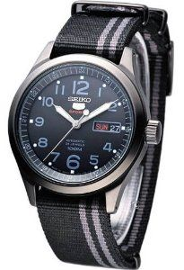 Seiko 5 Sports #SRP277 Men's Military Nato Black Grey Band 100M 24 Jewels Automatic Watch Seiko. $183.95. Case Size: 39.5mm Diameter, 11.6mm Thickness. Seiko 24 Jewels Self-Winding Automatic Movement with Hackable Second Hand (Calibre 4R36). Stainless Steel Case, Nylon Nato Type Band. Water Resistant - 100M, Transparent Screw Down Case Back. Hardlex Mineral Crystal, Day/Date Display with Spanish Option, Luminous Hands and Markers, Easy Reader Dial. Save 51% Off!