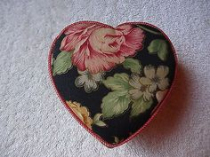 """Vintage Cloth Covered Card Board Heart Shaped Floral Print Trinket Box """" BEAUTIF #vintage #collectibles #home"""