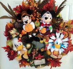 Thanksgiving Wreath Mickey Minnie Daisy by SparkleForYourCastle,