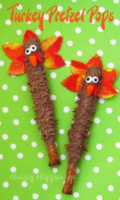 Hungry Happenings: Thanksgiving Day Treats - Chocolate Turkey Pretzel Pops
