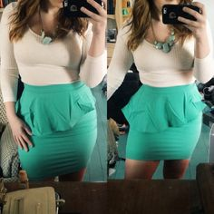 Wavy Peplum Pencil Skirt Just in, new with tags retail! On the right is the photo from the company but the left is more of the actual color. It's a darker mint color, maybe a little lighter in person than the photo of me in it. Fits like a glove, hides your tummy and accents your booty! A little slit in the back. Moon Collection Skirts Pencil
