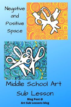 Middle School Art Substitute Lessons on Negative and Positive Space Back To School Art, Middle School Art Projects, Art School, Easy Art Lessons, Art Lessons Elementary, Upper Elementary, Art Sub Plans, Art Lesson Plans, 7th Grade Art