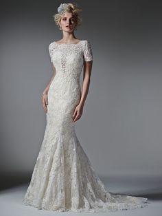 Sottero and Midgley - 6SK182 / TIERNEY   Jaehee Bridal Atelier    #bridal #weddingdress #fitandflare #illusion #plunging #shortsleeve