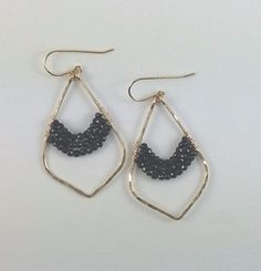 Handmade Pyrite or Black Spinel Triple Strand Earrings - Blue Tulip Boutique