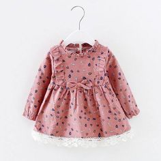 Sweet Leaves Pattern Long-sleeve Dress for Toddler Girls, 4 different colors available, order here >>>>http://bit.ly/2wPQmVB